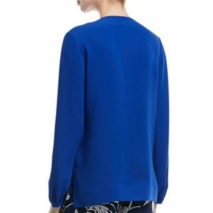 Diane Von Furstenberg Cobalt Blue Silk Blouse